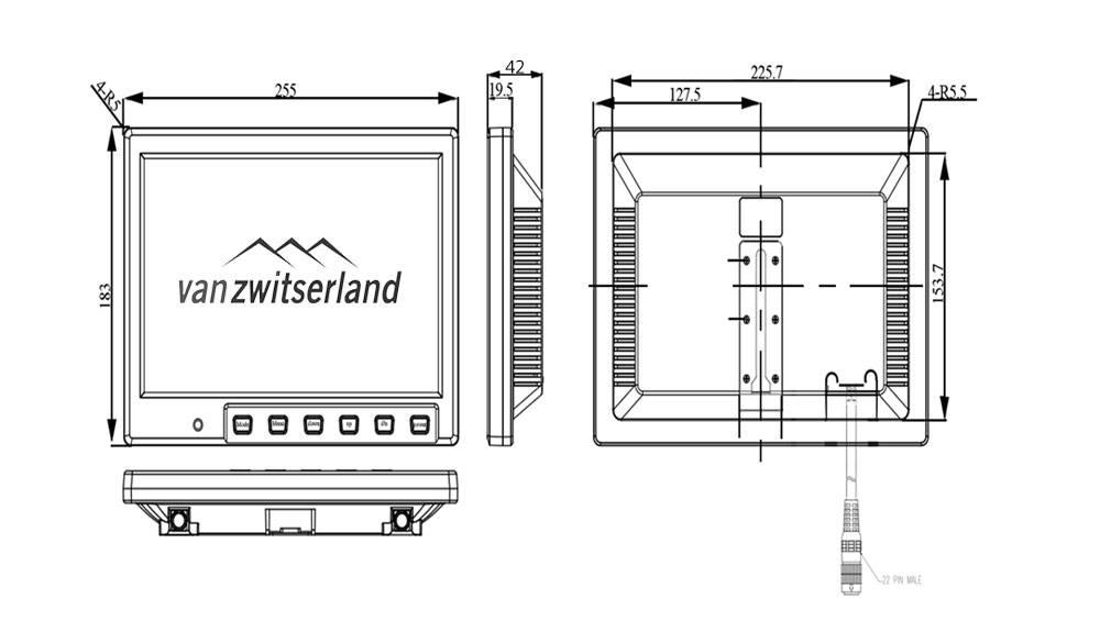 Extra groot Split Quad scherm voor maximaal 4 camera's bijvoorbeeld: frontcamera, zijcamera en achterzicht camera