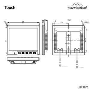 Extra groot Split Quad Touch scherm voor maximaal 4 camera's bijvoorbeeld: frontcamera, zijcamera en achterzicht camera