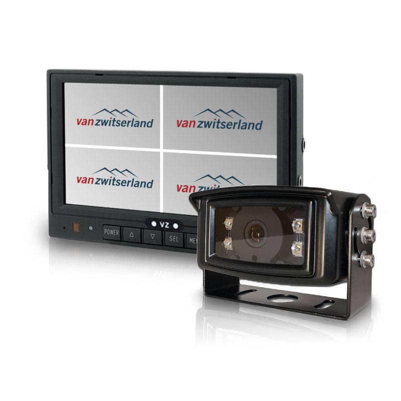 Achteruitrijcamera set met split quad monitor en verwarmde IP69k geteste camera met ruim nachtzicht