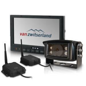 Draadloze achteruitrijcameraset voor 12 en 24 volt met verwarmde IP69k geteste camera met ruim infrarood nachtzicht