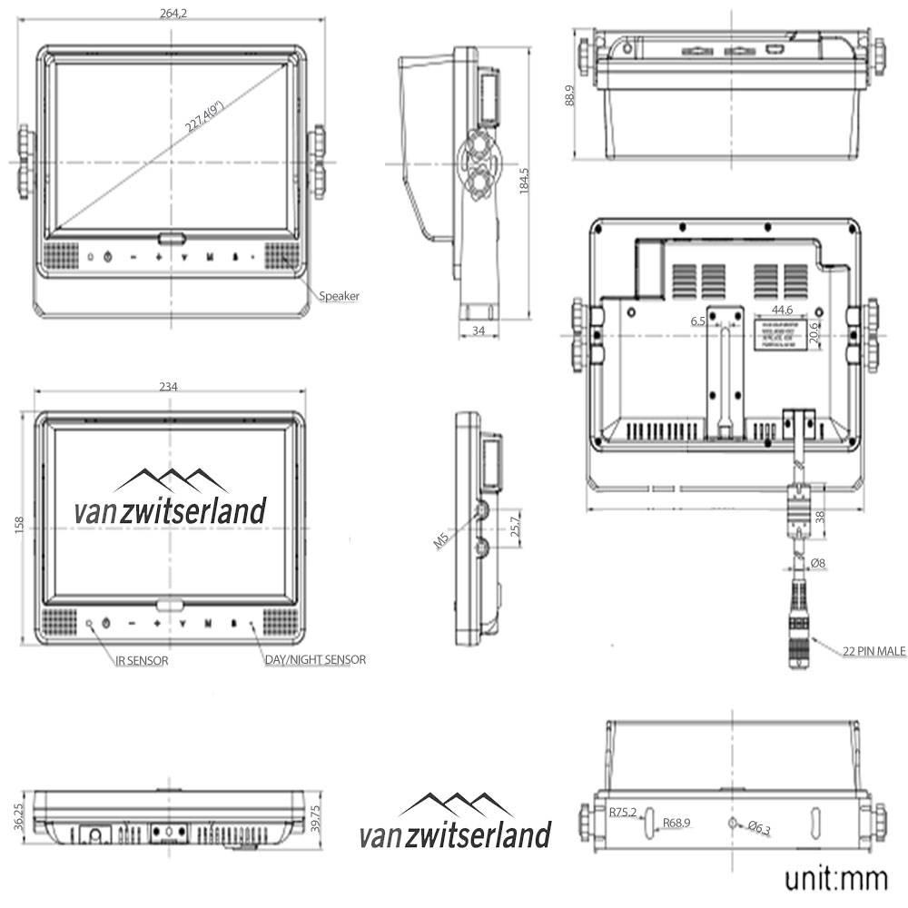 Extra groot Split Quad Touch monitor voor maximaal 4 camera's bijvoorbeeld: frontcamera, zijcamera en achterzicht camera