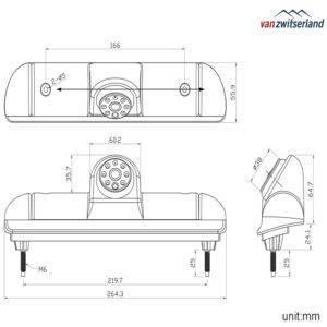 Technische tekening C15 achteruitrijcamera voor in derde remlicht Ford Transit, Peugeot Boxer en Citroen Jumper