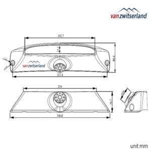 Technische tekening C16 Iveco Daily achteruitrijcamera voor in derde remlicht