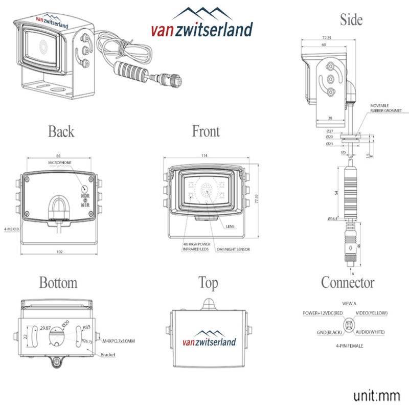 Technische tekening C4 achteruitrijcamera