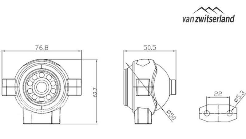 Technische tekening C5 Front of dode hoek camera