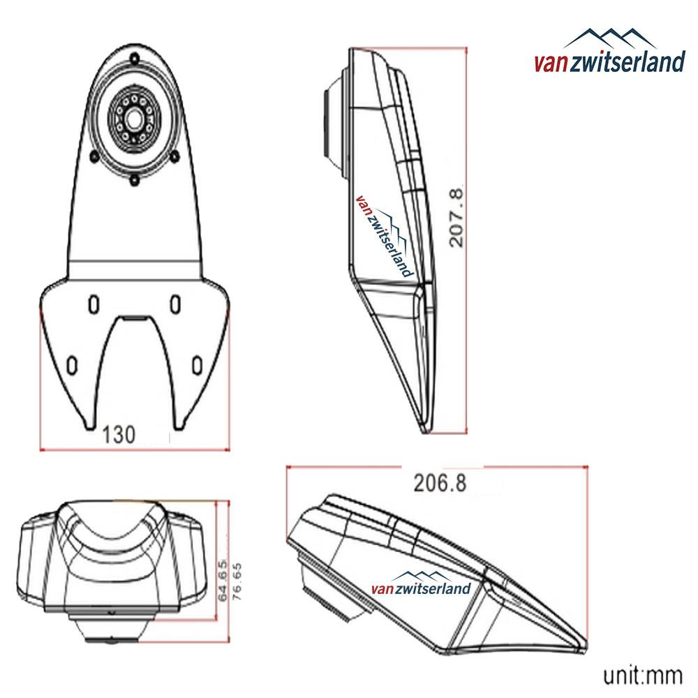 Technische tekening C6 opbouw Bestelbuscamera