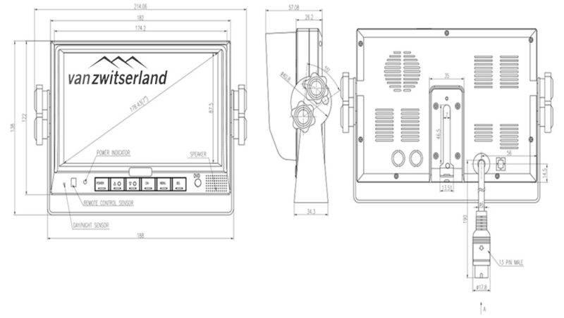 Dubbel DIN formaat scherm voor achteruitrijcamera's