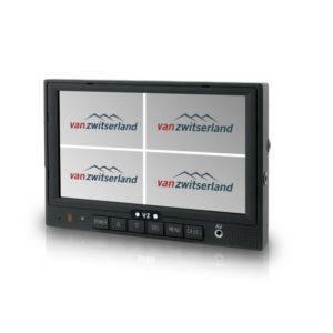 Split Quad scherm voor tot 4 camera's bijvoorbeeld: frontcamera, zijcamera en achteruitrijcamera