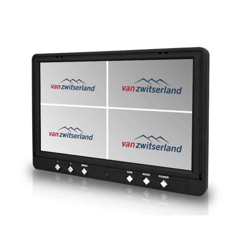 Extra groot 9 inch Split Quad Touch scherm voor maximaal 4 camera's bijvoorbeeld: frontcamera, zijcamera en achterzicht camera