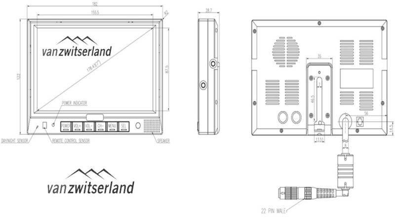 Split Quad scherm voor maximaal 4 camera's bijvoorbeeld: frontcamera, zijcamera en achterzicht camera