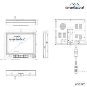 Dubbel DIN formaat split quad scherm voor bijvoorbeeld frontzicht, zijcamera/dode hoek en achteruitrijcamera