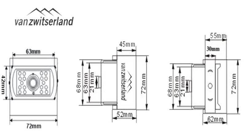 Technische tekening C1 achteruitrijcamera voor achterzijde