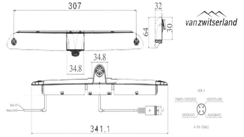 Technische tekening C11 achteruitrijcamera voor in het derde remlicht van de Mercedes-Benz Sprinter en Vokswagen Crafter