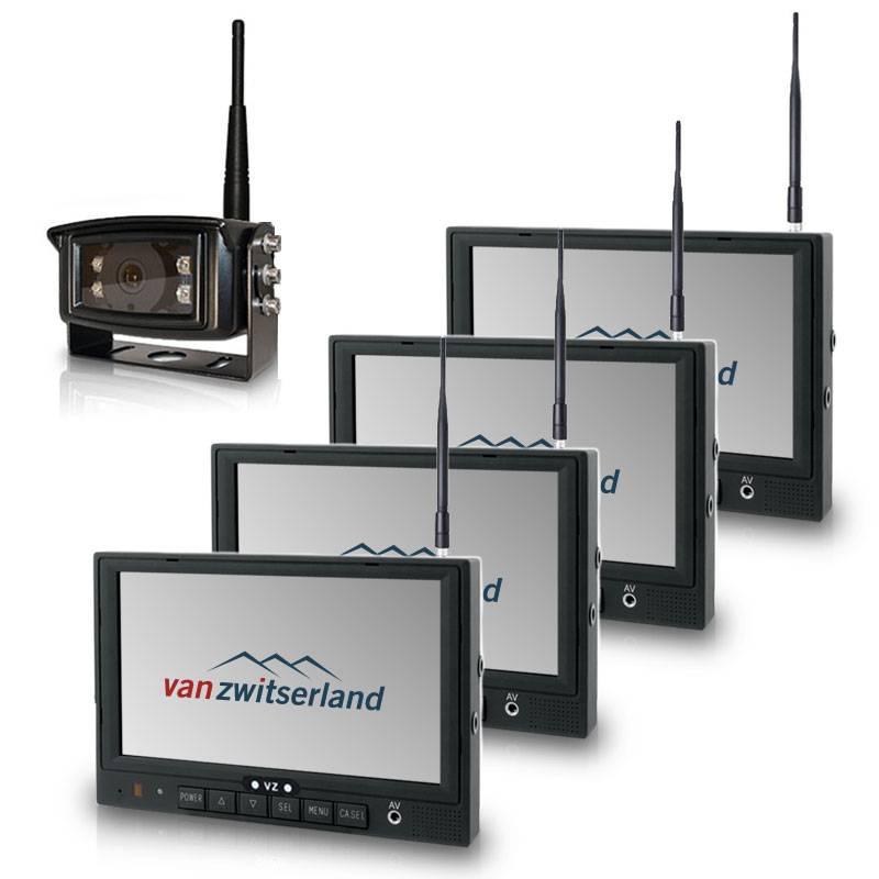 Professionele draadloze multi monitor achteruitrijcamera set