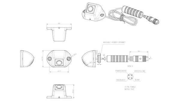 Technische tekening C7 mini achteruitrijcamera